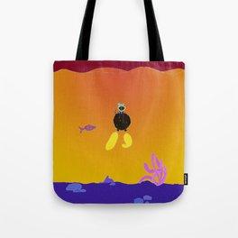Eglantine la poule (the hen) is diving. Tote Bag