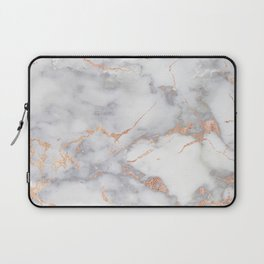 Gray Marble Rosegold  Glitter Pink Metallic Foil Style Laptop Sleeve