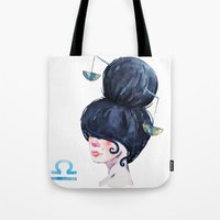 libra Tote Bags featuring Libra by Aloke Design