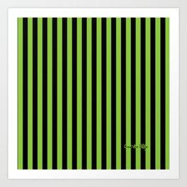 Halloween Stripes Green and Black Art Print