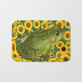 AVOCADO GREEN BOG FROG & YELLOW FLOWERS Bath Mat