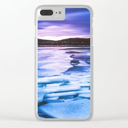 Lake Effect // Frozen Ice Water Sunset Mountain Landscape Photography Pink Purple Blue Clouds Clear iPhone Case