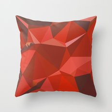Auburn Red Abstract Low Polygon Background Throw Pillow