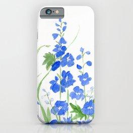 Blue Larkspur Watercolor Garden Flower Delicate Painting iPhone Case