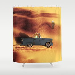 Car and Time Rabbit Shower Curtain