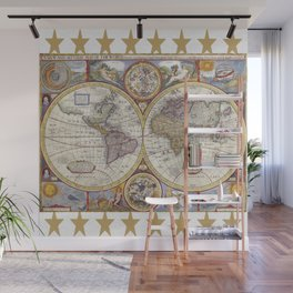 Vintage Map with Stars Wall Mural