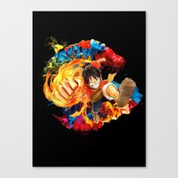 luffy Canvas Prints featuring Luffy Attack by feimyconcepts05