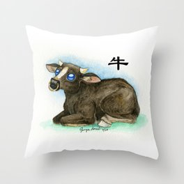 Chinese Zodiac Year of the Ox Throw Pillow