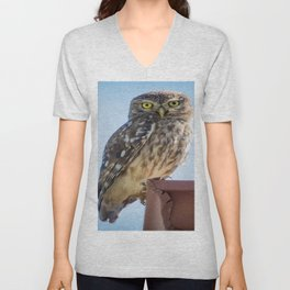 Cute Barn Owl Making Eye Contact Vector Unisex V-Neck