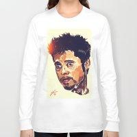 brad pitt Long Sleeve T-shirts featuring Mr Pitt  by ConnorEden