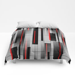 Off the Grid - Abstract - Gray, Black, Red Comforters