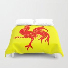 Flag of wallonia - Drapeau wallon,wallonie,Belgique,Belge,Bruxelles,France,Mons,Charleroi,coq,jaune Duvet Cover