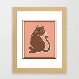 Brown Cat with Yellow Eyes Framed Art Print