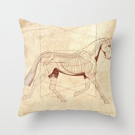 Da Vinci Horse: The Trot Revealed Throw Pillow