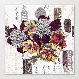 Beautiful illustration with peony flowers in vintage style Canvas Print