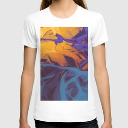 Orange, Purple and Blue Abstract. Mixed Media. T-shirt