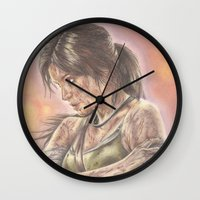 lara croft Wall Clocks featuring Miss Croft by JadeJonesArt