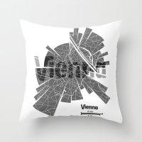 vienna Throw Pillows featuring Vienna Map by Shirt Urbanization