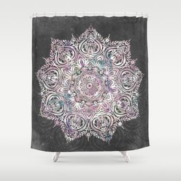 Dreaming Mandala - Magical Purple on Gray Shower Curtain
