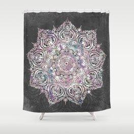 Dreaming Mandala - Magical Purple on Gray Shower Curtain
