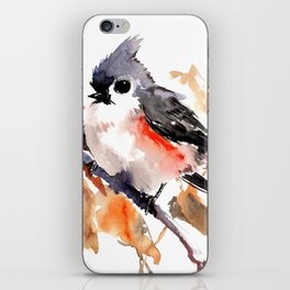 titmouse in the fall, Fall colors, birds and flowers bird art iPhone Skin