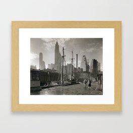 Fulton Street Dock, 1935 Framed Art Print
