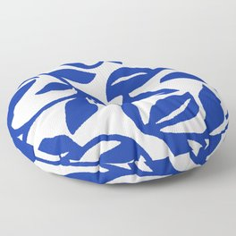 PALM LEAF VINE SWIRL BLUE AND WHITE PATTERN Floor Pillow