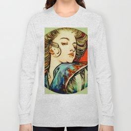 "Alphonse Mucha ""Portrait of a Young Woman"" Long Sleeve T-shirt"