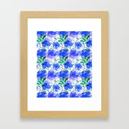 Big Blue Watercolour Painted Floral Pattern Framed Art Print