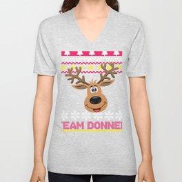 Team Donner Santa Reindeer Ugly graphic design Unisex V-Neck