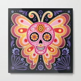 Sugar Skull Butterfly Art - Psychedelic Day of the Dead Skull Art by Thaneeya McArdle Metal Print