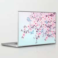 cherry blossoms Laptop & iPad Skins featuring Cherry Blossoms by Baydur Mandalaart