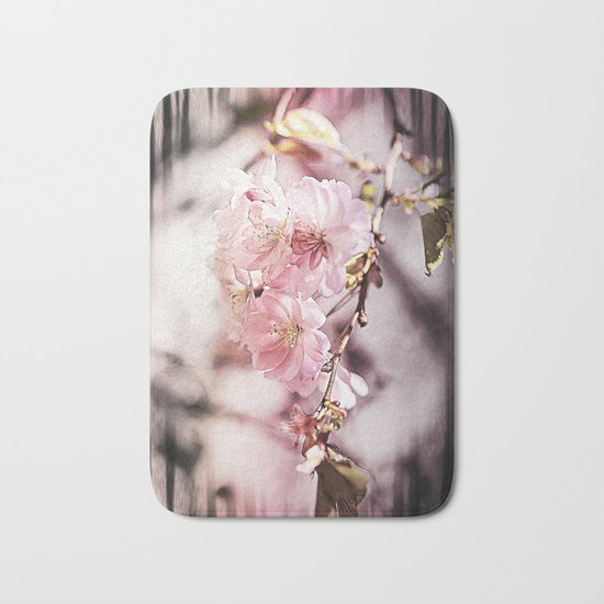 Zebra Cherry Blossom Bath Mat