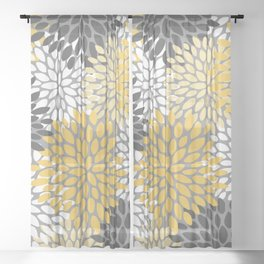 Modern Elegant Chic Floral Pattern, Soft Yellow, Gray, White Sheer Curtain
