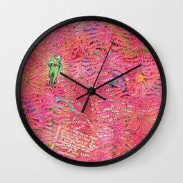 coral tiger love Wall Clock