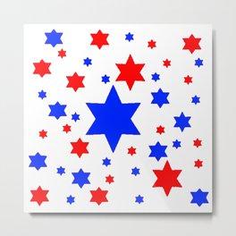 4TH RED & WHITE & BLUE STARS  DESIGN Metal Print