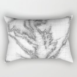 Vintage Map of The Chesapeake Bay (1873) BW Rectangular Pillow