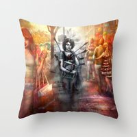 depression Throw Pillows featuring Depression by Mitul Mistry