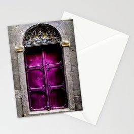 Magical Metallic-Purple European Doorway Photograph Stationery Cards