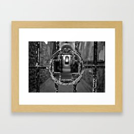 Prison Medical Ward Gate Cross - Black & White Framed Art Print