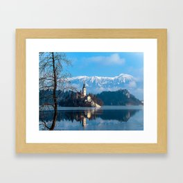 Lake Bled, Slovenia in the Winter Framed Art Print