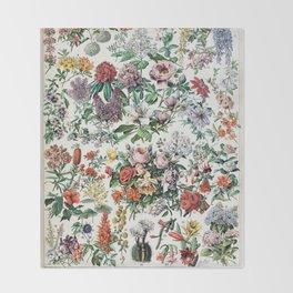 Adolphe Millot - Fleurs C - French vintage poster Throw Blanket
