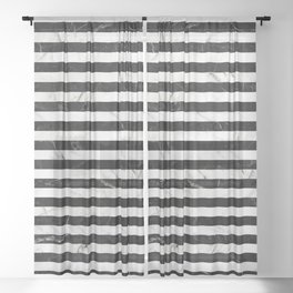 Marble Stripes Pattern - Black and White Sheer Curtain
