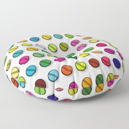 Colorful Pills Pattern Cool Modern Art Graphic Illustration Floor Pillow