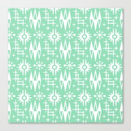 Mid Century Modern Atomic Space Age Pattern Mint Green Canvas Print