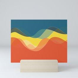 70's and 80's retro colors waves Mini Art Print