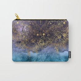 Gold floral mandala and confetti image Carry-All Pouch