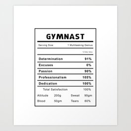 Gymnast Nutrition Ingredients Art Print