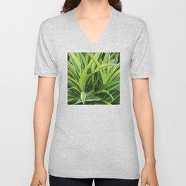 Exotic Lush Green Leaves Unisex V-Neck