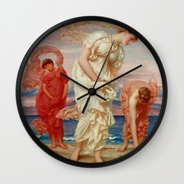"""Frederic Leighton """"Greek Girls Picking up Pebbles by the Sea"""" Wall Clock"""